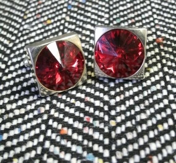 60's Rivoli Cuff Links Cranberry Rhinestone