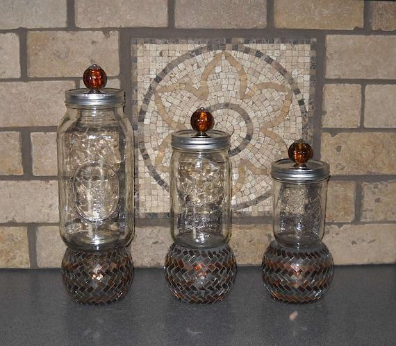 Mason Jar Kitchen: ON SALE-Mason Jar Kitchen Canister Set 3 Piece