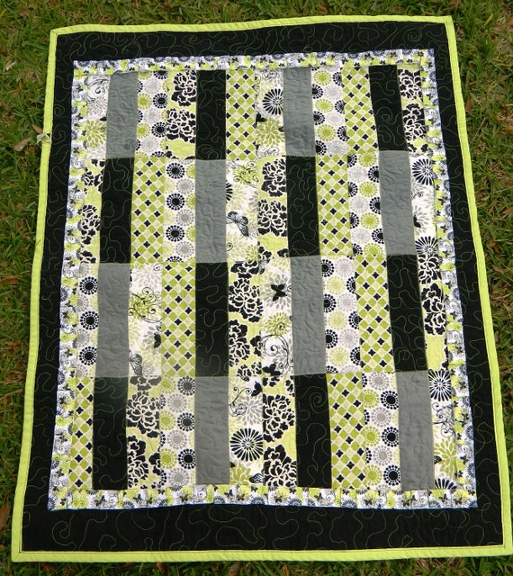 Quilt - Lime Green, Black, Gray, Butterflies, Roses, Lap Throw or Toddler Bed Size