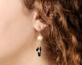 Pearl And Black Earrings-...