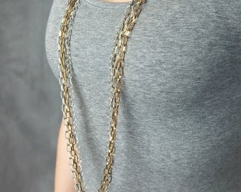 Multi Strand Necklace - Multi Chain Necklace Mixed Metals Fashion Accessory - Gifts for Her - Gift for Her