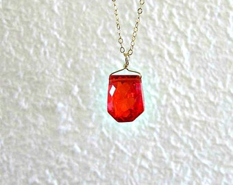 Orange Pendant - Simple Faceted Cubic Zirconia Nugget Necklace - Gift for Her