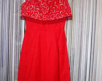 Vintage 1950's Wiggle Dress, Ruby Red Jr. Theme