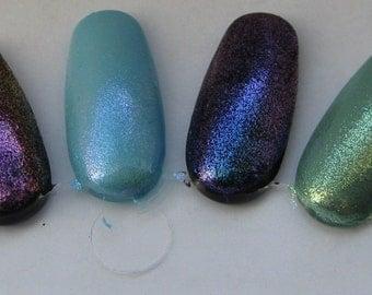 Splash Dream Ever Blue Star Jewel Duochrome Glass Fleck Top Coat Trio Custom Nail Polish 15mL each