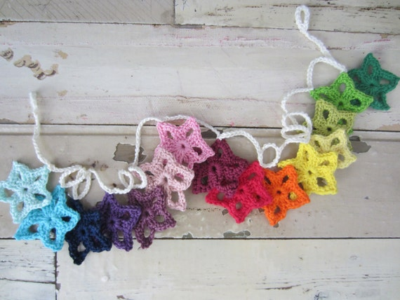 Colorful Crocheted Star Flower Garland/Bunting - Rainbow