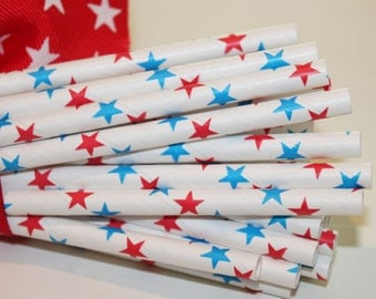 OLYMPIC TEAM USA 150 Red Blue Stars Paper Straws, Americana, Cook Out,  Party, Soda Straws