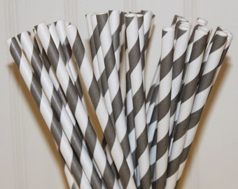 Paper Straws, 50 Grey Striped Paper Straws and CUSTOM Flags by Lola -  Party, Wedding, Events