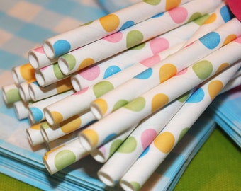 100 ConFeTTi DoT PapeR StrAwS - SpRinKles of PASTELS with Free Blank DIY Printable Flags, Birthday, Baby , Bridal ,Made In USA