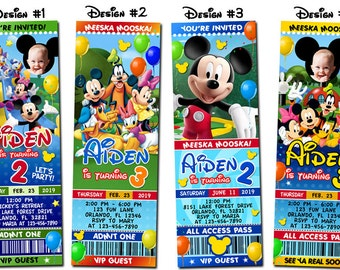 Mickey Mouse Clubhouse Minnie Birthday Party Photo Ticket Invitations - Printable