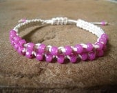 Shimmery, Hot Pink Hemp Bracelet
