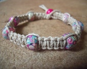 Colorful Pink and Blue Beaded Hemp Bracelet