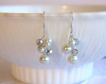 Bridal Earrings - White Pearl Earrings - Dangle Earrings - Wedding Jewelry - Ivory Pearl