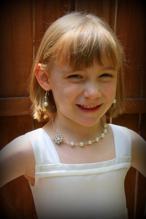 Junior Bridesmaid Jewelry-Flower Girl Gift-Flower Girl Jewelry-Miniature Bride-Junior Bride Jewelry-Pearl Necklace-Gifts Under 30