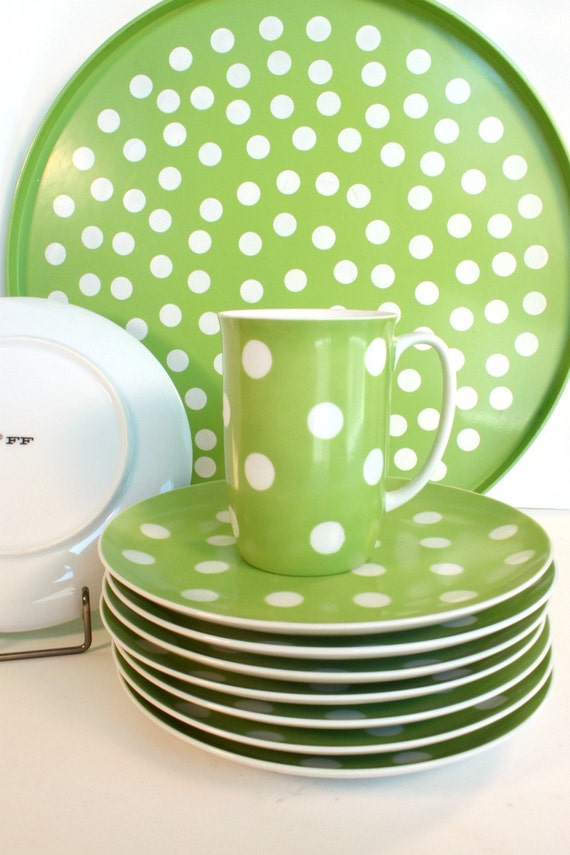 Vintage green and white polka-dot Fitz & Floyd dishes with tray