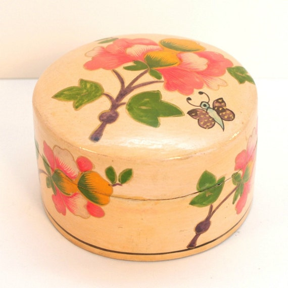 Vintage hand-painted round wood box - beige with pink flowers and butterfly