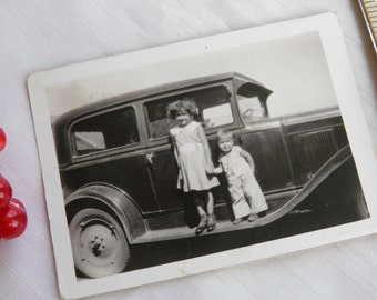 Vintage Photo Brother- Sister Standing on Automobile Running Board