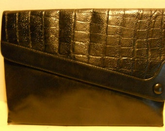 Great vintage Italian black leather assymetrical evening bag, clutch