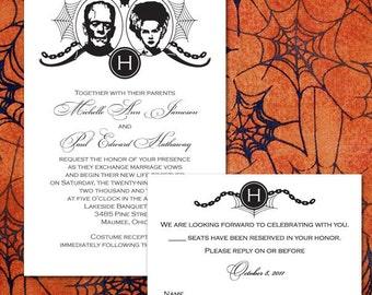 Custom Frankenstein Halloween Wedding Invitations