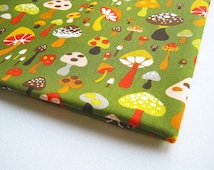 Japanese Cotton Fabric Cute Mushroom Parade Green Yellow Brown Red Orange Quilt Spring kid dress, kitchen curtain, purse 100% cotton JP009