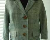 "Jackie O Style Silk Tweed Teal Jacket and Skirt Suit 42"" Bust"