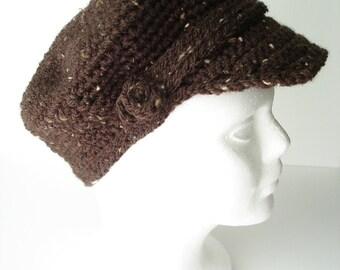 Handmade Newsboy Crocheted Hat with Brim