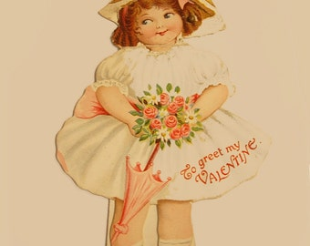 Vintage Mechanical Googley eye Paperdoll Valentine Day Greeting Card with a Girl Cutie