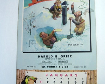 Vintage 8 1/2 x 14 Harold Grier Advertising Calendar with Funny Monkeys by Artist Lawson Wood 1956