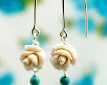 White rose earrings, white earrings, gold rose earrings, rose jewelry, anniversary, wedding, bridal, for her, statement gift