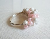 Shining White And Gentle Pink Bead Wire wrapped  Ring