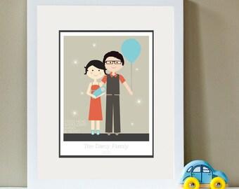 Custom Portrait - It's A Boy - New Baby Portrait,  Family Portrait, Fathers Day