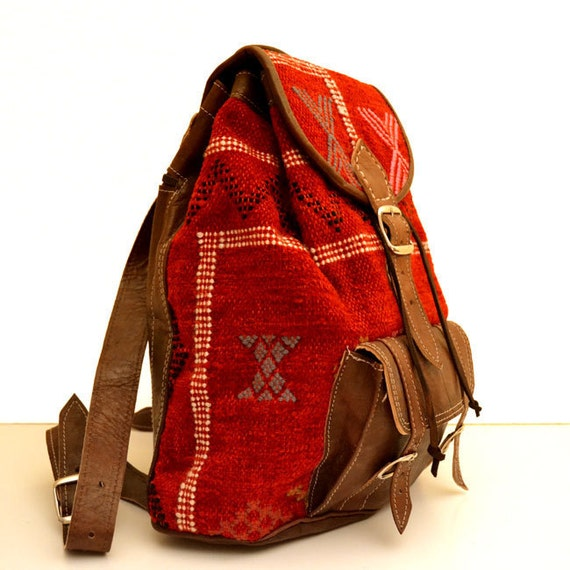 Brown Leather Backpack with a Unique Handmade Red Wool Touch. Rucksack, Satchel Backpack, Travel Backpack