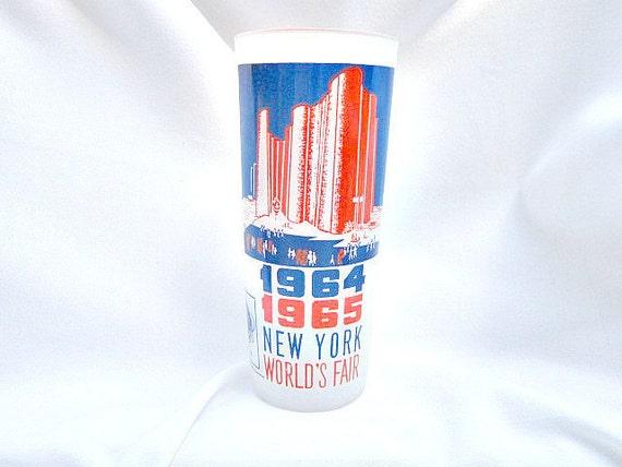 Worlds Fair Tumbler 1964-65, New York Worlds Fair, Queens Worlds Fair Ice Tea Tumbler  ID 028