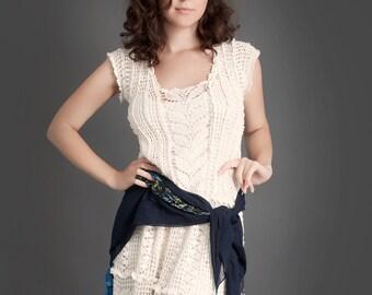 Milky white exclusive crochet dress