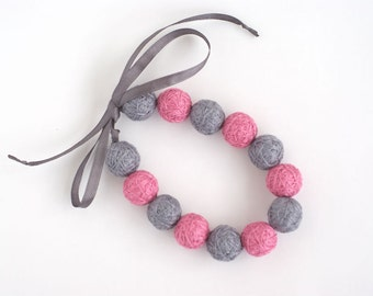 Pink grey long beads balls necklace thread cotton for girls lace fiber  natural pastel gray minimalism gift idea fall fashion