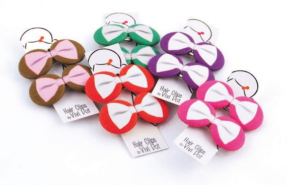 Sweet Bow Button Hair Clips