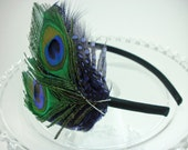 Purple Peacock Feather Headband / Great Gatsby / Art Deco / 1920s flapper / Peacock wedding / hair fascinator / feather accessory