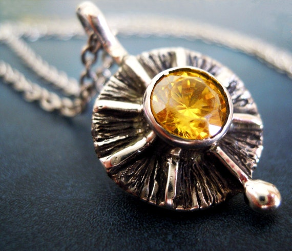 Yellow Zircon Sun Inspired Necklace Sterling Silver 950