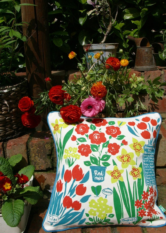 Cushion, handmade decorative pillow. Eco friendly, Organic, Screen print, pillow, floral and text.