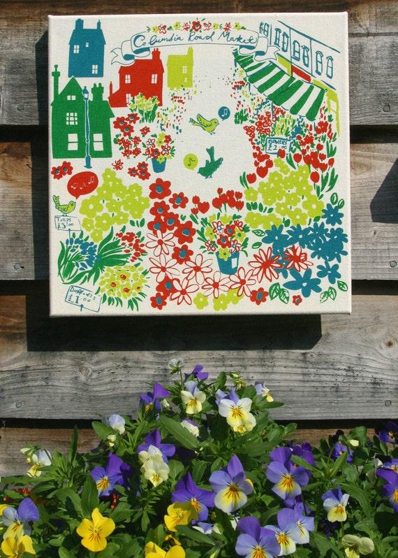 Vintage style eco-friendly wall art London flower market print.