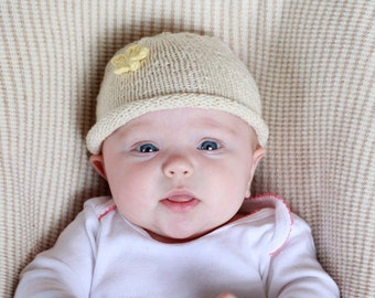 Organic knit baby hat- Flower with multiple color options, fair-trade, USA made cotton