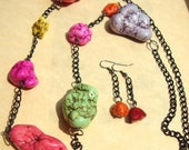 Multi-Color Magnesite necklace and earrings jewelry set  FREE Shipping to USA
