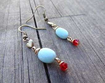 Bronze Blue Amazonite Red Crystal Dangle Heart Love Bead Earrings Handmade Brass Jewelry