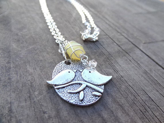 Silver Wire Wrap Sunshine Yellow Chalcedony Bird Birds Crystal Handmade Pendant Necklace Jewelry Bead Beading