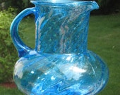 Colorful Hand Blown Antique  Glass Pitcher