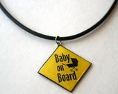 """Baby on Board w/carriage necklace 18"""""""