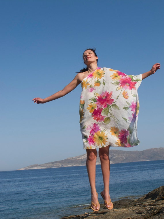 One Shoulder Tunic, Beach Coverup, Kaftan, cotton floral printed in white, pink, green, fucshia, yellow.