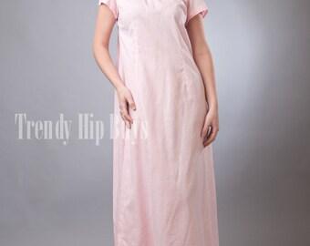 Vintage 50s Dress, Vintage Pink dress, Mad men Dress, Vintage Gingham Dress, Vintage Formal dress, Pink maxi dress,Vintage evening dress - M
