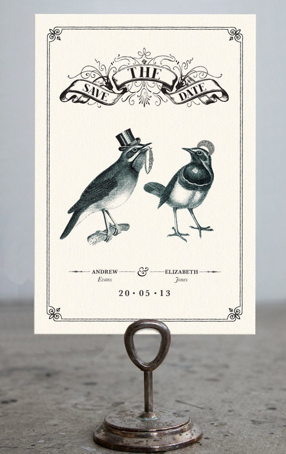Birdie Love Save The Date Cards Letterpress