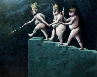 Lowbrow Pop Surrealism limited edition art print by Pete Gorski titled: Blind Leading the Blind