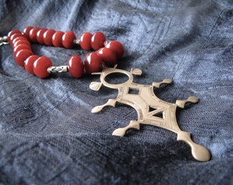 Tuareg cross pendant necklace - big Tuareg cross - sterling silver - Sahara - ethnic pendant - amulet - red necklace - red copal - boho